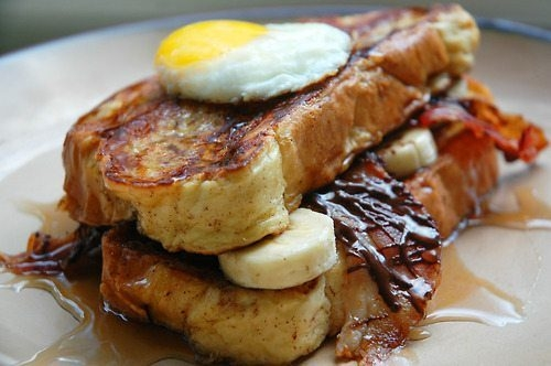 Banana French Fries French Toast Topped With Fried